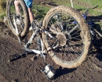 Don't just pedal harder when clogged with mud