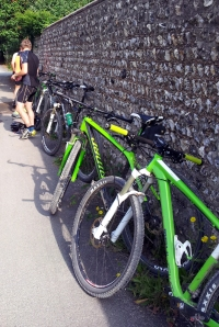 The bikes all in green