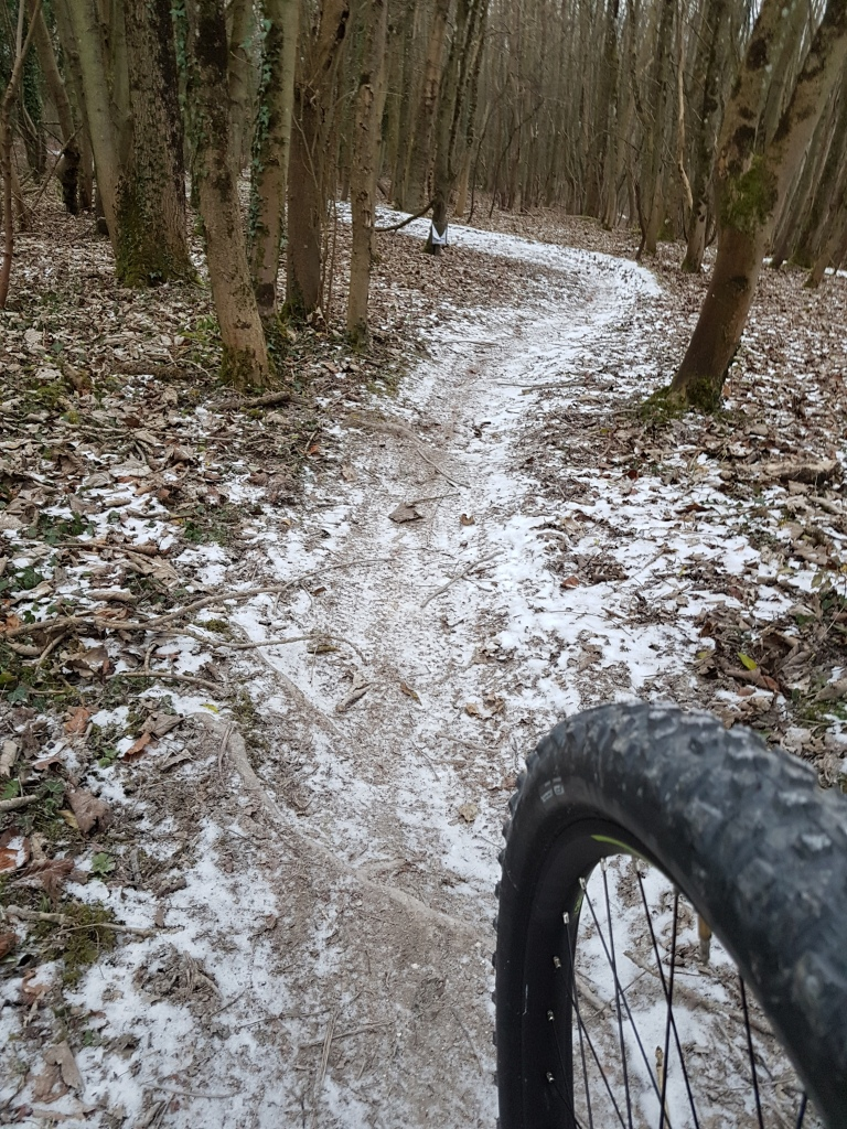 The perfect frozen trail with a dusting of snow